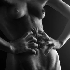 Black and white photographs of nude women