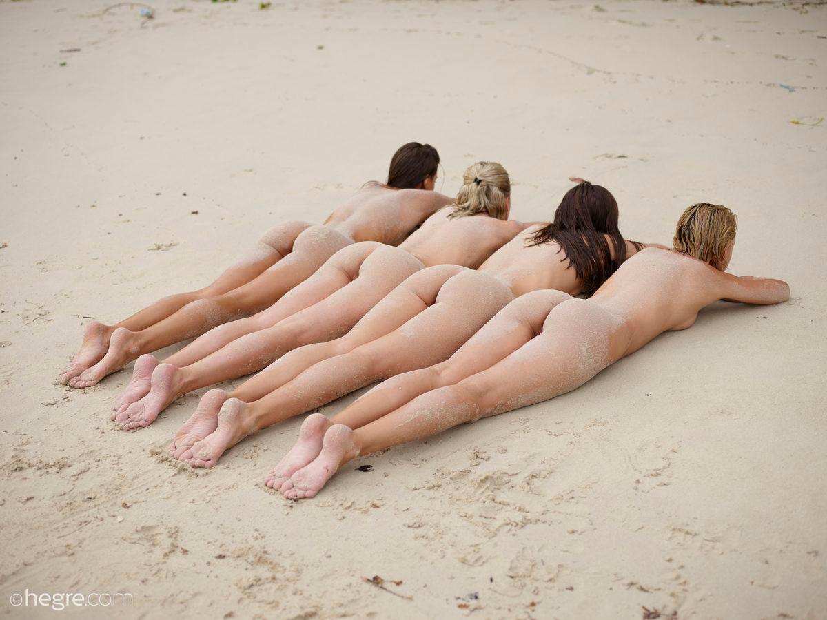 "ariel, marika, melena maria, mira in ""sexy sand sculptures"" by petter hegre"